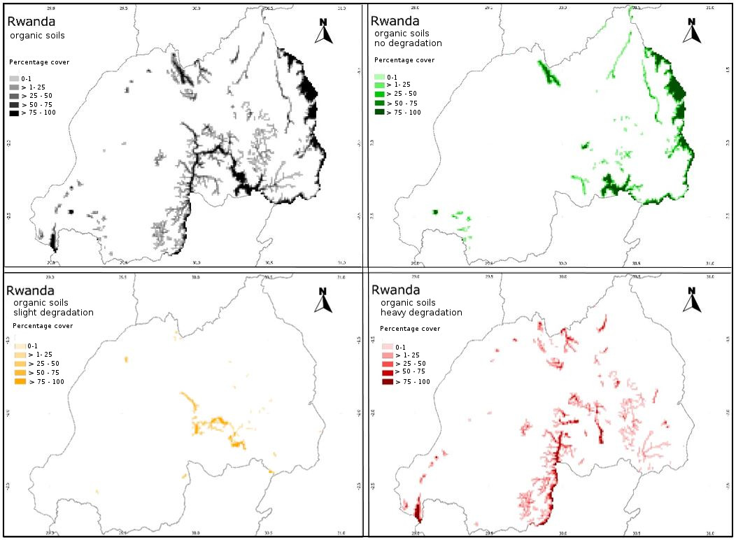 Organic soils of Rwanda (1 x 1 km grid) with drainage and degradation status: green=no degradation; yellow=slight degradation; red=heavy degradation