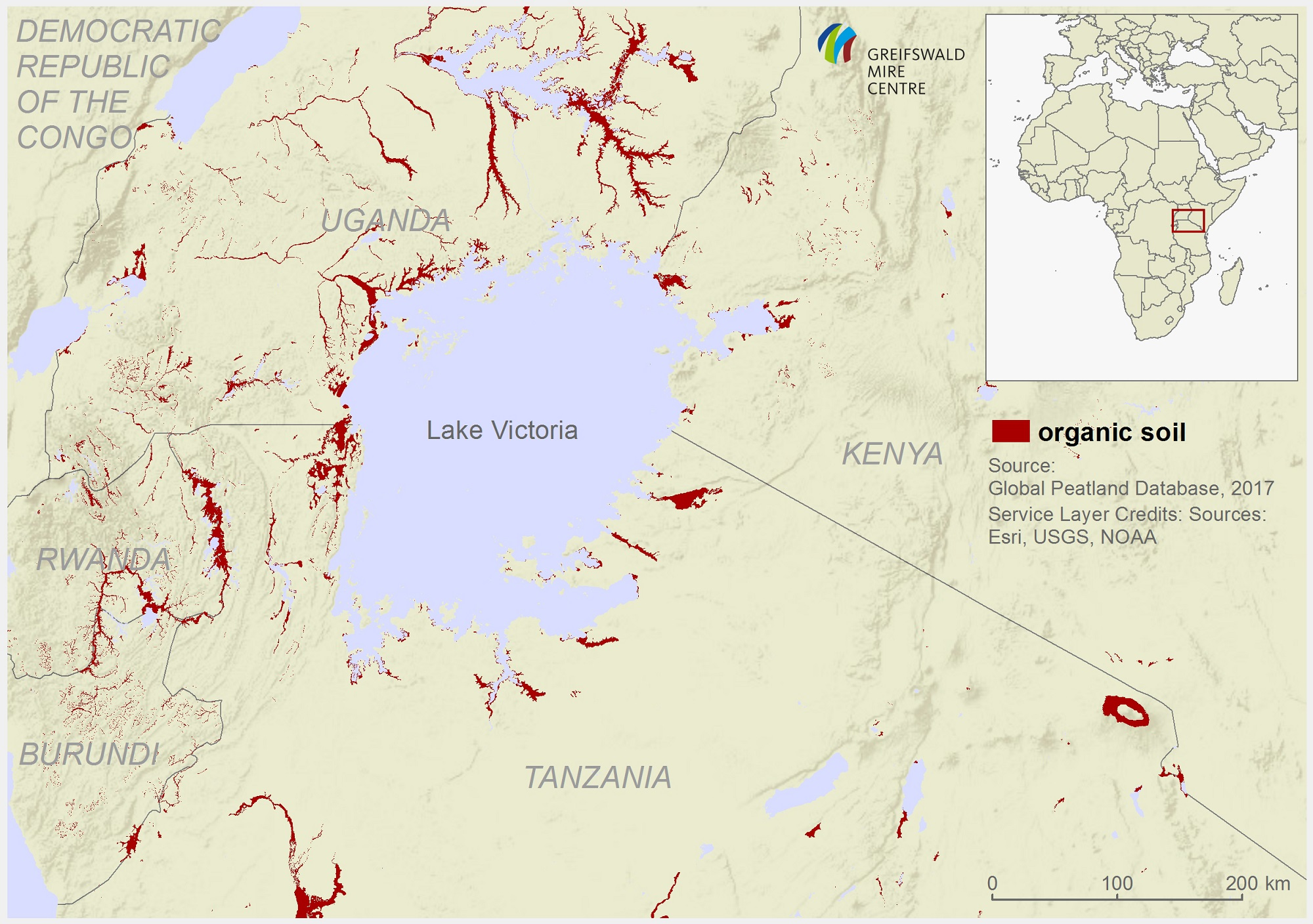 Organic soil probability map of the Lake Victoria region